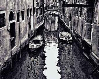 Venice Photography, Canal, Boats, Italian Decor, Black and White Photography, Home Decor, Romantic Wall Art, Fine Art Photography, Canvas