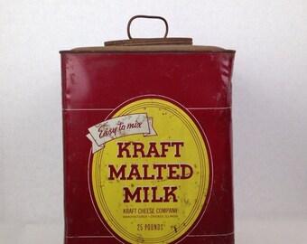 Vintage 1940s Kraft Malted Milk Metal Kitchen Canister