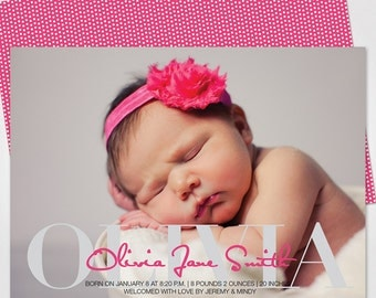 Boy or Girl Birth Announcement / Neutral Birth Announcement / Baby Announcement Photo Card