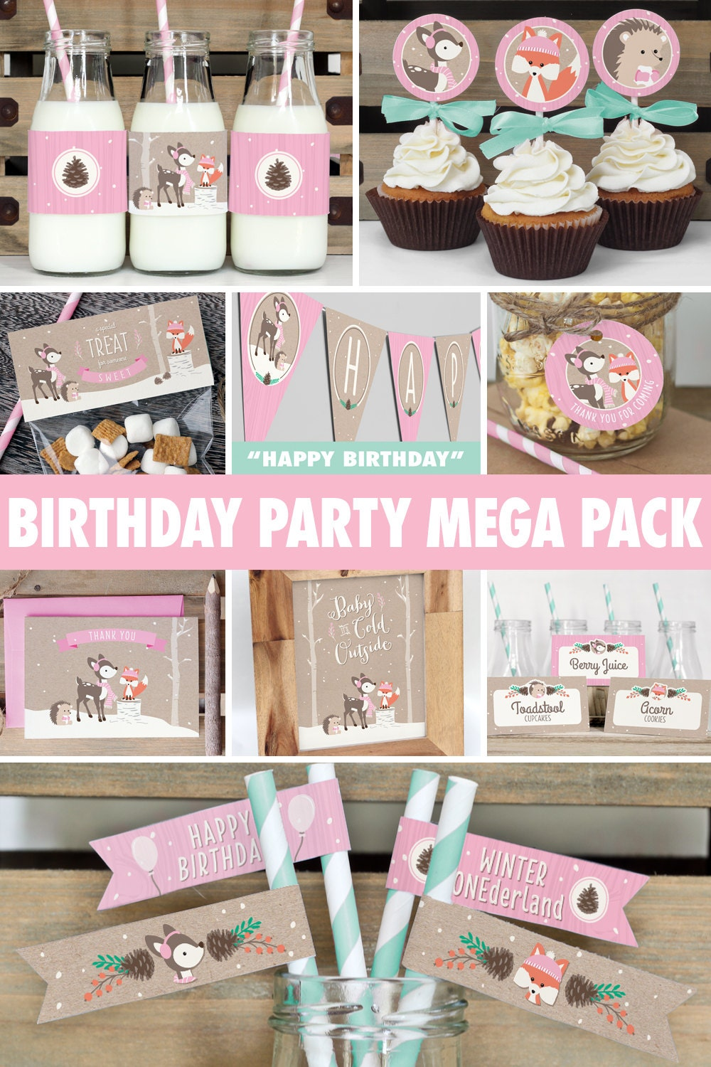 Winter woodland birthday party mega pack girl pink for 1st birthday decoration packs