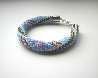 Bracelet - Bead Crochet Bracelet - Chunky Bangle - White/Old Gold/Violet/Pink/Blue- Beadwork - Geometric -