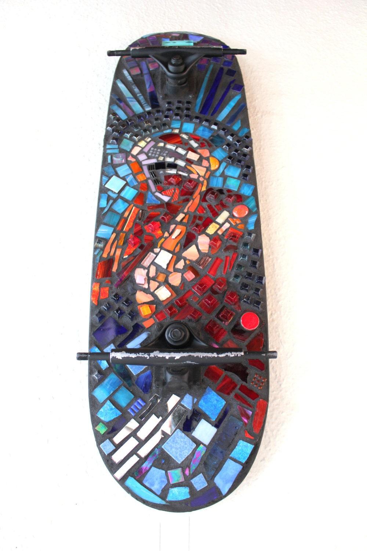 Glass Tile Mosaic Wall Art On Skateboard Men Women By