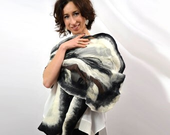 Large nuno felted silk shawl from australian merino wool, 100% eco materials, Fashion designer, Silk dress
