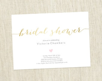 Your Custom Colors - Bridal Shower Simple Heart Invite - PRINTABLE / DIY