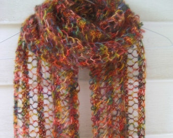 Mohair scarf , Lace knit mohair scarf , Jewel tones scarf , Multicolor scarf , Silky soft scarf