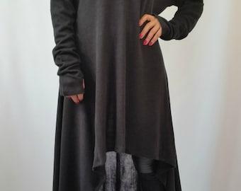 Black Asymmetrical Sweater Top / Oversize Sweater Dress / Long Women Knitted Sweater / EXPRESS SHIPPING / MD 10007