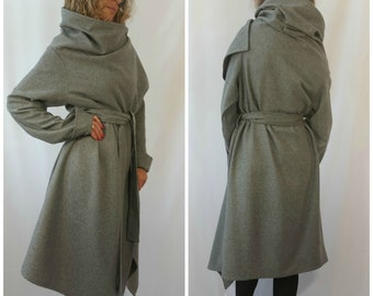 Grey Long Wool Coat Winter Cape Coat Cashmere Poncho coat Long Sleeve trench Coat Jacket for Women High Quality Mohair Wool Vest / MD 10002