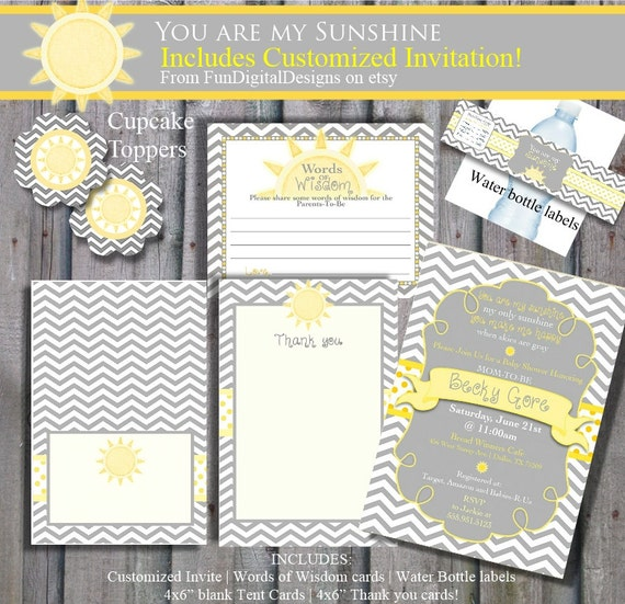 you are my sunshine baby shower invitation mega pack yellow and grey
