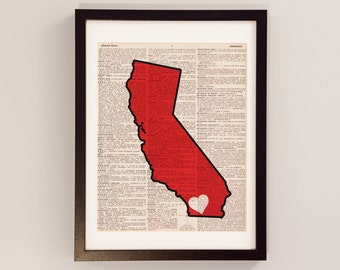 SDSU Aztecs Dictionary Art Print - San Diego Art, California Art - Print on Vintage Dictionary Paper - San Diego State University Art