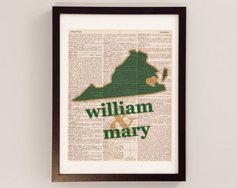 William & Mary Dictionary Art Print - Colonial Williamsburg Virginia - Print on Vintage Dictionary Paper - Graduation Gift, Go Tribe, WM