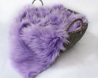 Lavender Mongolian Faux Fur Prop, Long Pile MOngolian Faux Fur, Newborn Photo PRop. Ready to Ship.