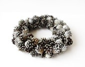ON SALE Winter Pine Cone Wreath White Silver Wreaths Door Wall Decoration Christmas Home House Decor Holiday Wreaths Gift Xmas Hoartfrost We