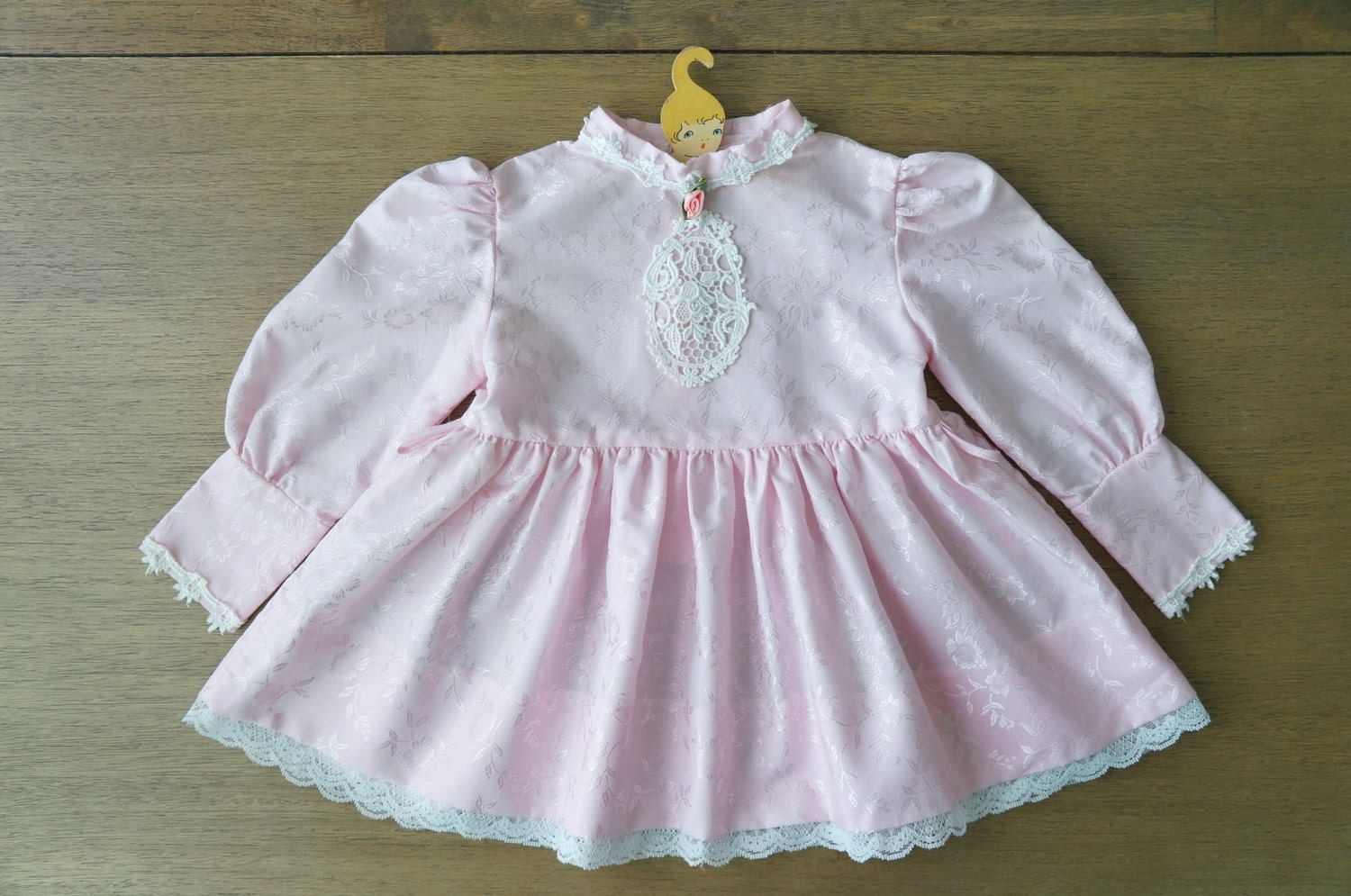 Vintage Baby Clothes Girl Victorian Style Pink Dress