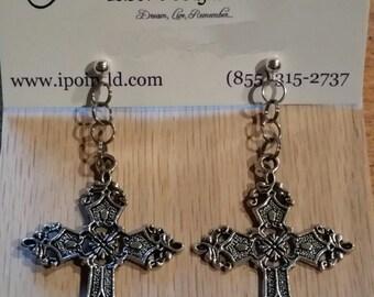 Silver Cross Earrings - Beautiful Large Dangling Jewelry - FREE US SHIPPING!!