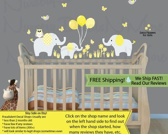 Animal Wall Decal, Animal Stickers, Yellow Nursery Decal (Elephants & Balloons Yellow Gray) 3EB