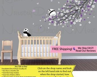 Panda Tree Decals, Purple Cherry Blossoms, Sakura (Purple Grey LongBranchPanda) PRDB2 B75_F1-35_F2-80_C75_Bu36