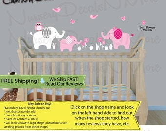 Girls Room, Elephant Decal, Elephant Wall Stickers (Mini Elephant Only BabyPink) 3EO