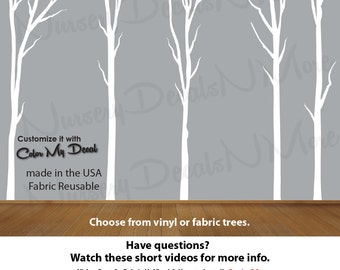 Nature Tree Stickers, Dead Tree Decal, White Tree Decal (White Dead Trees No Deer) Dead_Nature_Tree NTD