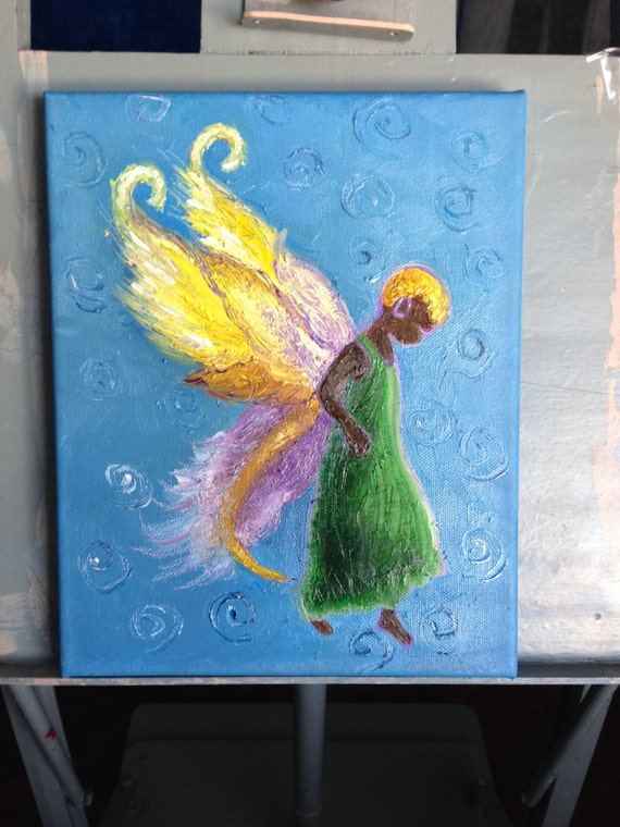 Blue Light Faery Signed Original 8 X 10 Impressionist Style Oil Painting  (C) 2015 by Blevins Cohea - Unframed