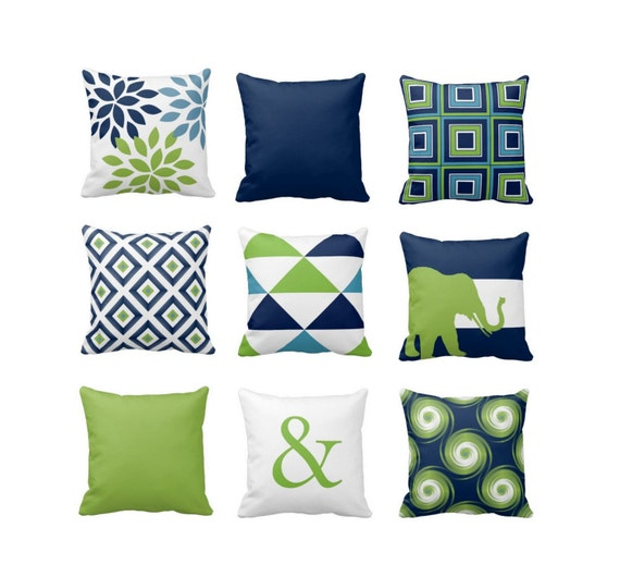 throw pillow covers navy blue green white light by. Black Bedroom Furniture Sets. Home Design Ideas