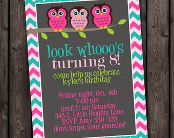 owl invitation, owl birthday party invitations, customized wording included