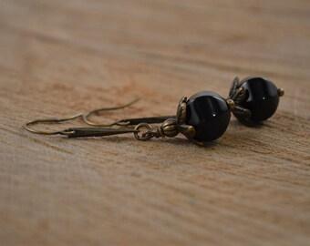 Black Onyx Earrings, Long Beaded Earrings, Bohemian Jewelry, Bohemian Earrings, Brass Earrings, Boho Dangle Earrings, Long Beaded Earrings