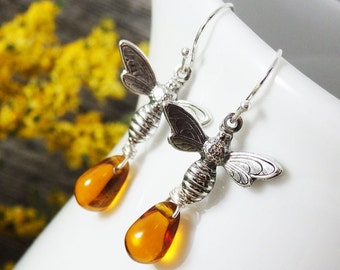 Bee Earrings, Bee Jewelry, Honey Drop Earrings, Silver Earrings, Topaz Earrings, Bee & Honey Earrings, Honey Bee Earrings, Apiculture,