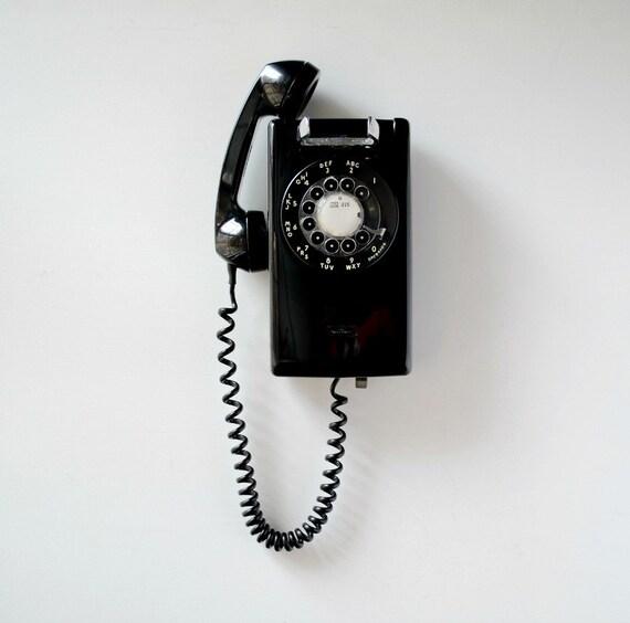 t l phone cadran vintage noir t l phone de cadran mural. Black Bedroom Furniture Sets. Home Design Ideas
