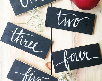 Calligraphy Wooden Table Numbers