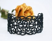 Black lace bracelet, tatted bracelet, black bracelet with beads, wide bracelet, statement bracelet, cuff bracelet,  tatting jewelry.