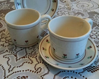 Vintage Hartstone USA Two mugs and two saucers in the provincial posy pattern marked 1979