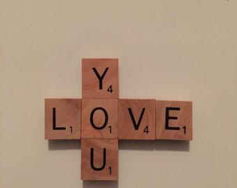 Scrabble tile Love You magnet
