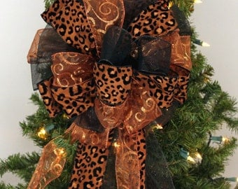 Brown Leopard Copper Swirl Black Christmas Wreath Bow Tree Topper Bow