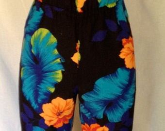 Vintage 1980s Tropical Print Jumpsuit with Spaghetti Straps/ small/ by Moon Resort