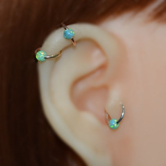 4mm Opal Tragus Earring - Gold Nose Hoop - Nose Ring - Cartilage Earring - Tragus Ring 16g - Daith Ring - Helix Hoop - Nose Piercing