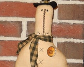 Prim Snowman with bottlecap pin - 12 x 7 inches    READY TO SHIP