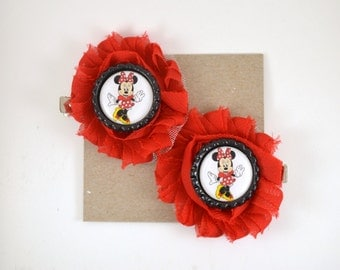 Minnie Mouse Hair Clips - Shoe Clips - Red and Black Minne Mouse Halloween Costume - Disney - Girl Hair Accessories