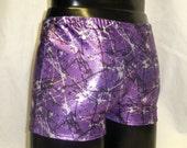 Mooners Mens M MEDIUM Lycra Low Rise Hotpants Metallic Purple Silver Black Fleck Spandex Booty Shorts Burning Man Festival Swim Stretch Yoga