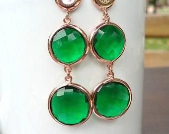 Emerald green earrings. Green quartz double drop  earrings. 925 silver rose gold vermeil. 2 drop. Bezel earrings