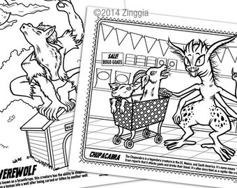 24 Monster Coloring Book Pages with games & masks, cryptozoology, greek mythology, legendary creatures, Chupacabra, Halloween coloring