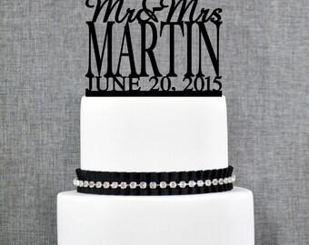 Custom Surname Topper, Mr and Mrs Cake Topper with Date, Gold Cake Topper, Custom Cake Topper, Topper For Wedding (T008)