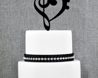 Treble Bass Clef Heart Wedding Cake Topper, Music Heart Wedding Cake Topper, Music Wedding, Custom Colors- (T065)