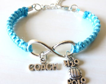 Water Polo Coach Athletic Charm Infinity Water Polo Charm You Choose Your Cord Color(s)