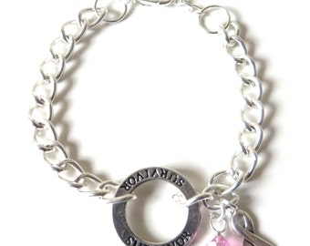 Survivor Pink Charm Bracelet Crystal Charm and Silver Awareness Ribbon Bracelet Breast Cancer Testicular Cancer Birthparent