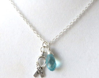 Light Blue Prostate Cancer Awareness Hope Survivor Silver Ribbon Pendant Necklace You Choose Ribbon Design