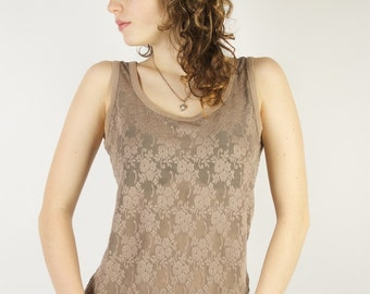 Brown Lace Top Summer Cappuccino Brown Sleeveless Romantic Blouse Medium Size