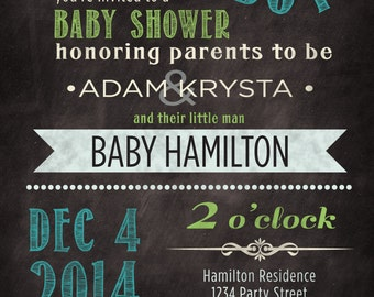 Co-ed (optional) Baby boy shower invitation