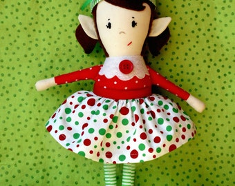 Doll Pattern - Christmas Elf Girl Doll PDF Sewing Pattern