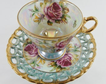 Lusterware/Irridescent Tea Cup and Lattice Saucer with Beautiful roses