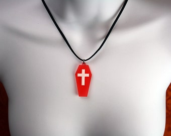 Gothic Red Coffin Necklace with Cross
